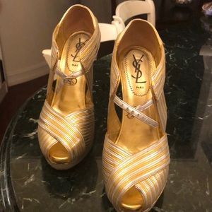 Yves Saint Laurent gold and silver wedges
